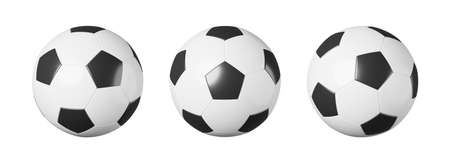 Set of soccer ball or football with different view on white isolated background . Simple design . Sports equipment concept . 3D rendering .
