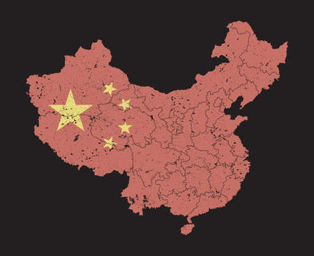 China map with flag pattern and province region and grunge dust particle element on map . High detailed . Flat color . Vector . 矢量图像
