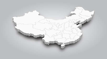 3D Map of China and province with shadow on gradient gray color background . Perspective view . Vector .
