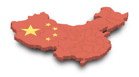 3D Map of China and province and flag pattern with shadow on isolated white background . Perspective view . Vector .