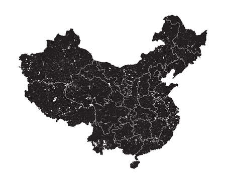 China map with province region and grunge dust particle element on map . High detailed . Simple flat silhouette design . White isolated background . Vector .