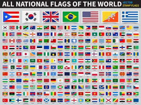 Set of all national flags of the world . Stamp flag design . Element vector .