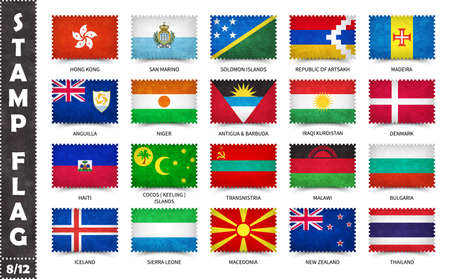 Stamp with official country flag pattern and old grunge texture and countries name . Rectangle shape . Vector . Set 8 of 12 on this series ( All national flags of the world ) .