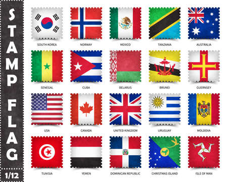 Stamp with official country flag pattern and old grunge texture and countries name . Square shape . Vector . Set 1 of 12 on this series ( All national flags of the world ) . 矢量图像