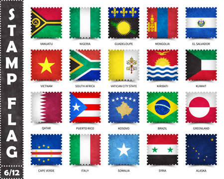 Stamp with official country flag pattern and old grunge texture and countries name . Square shape . Vector . Set 6 of 12 on this series ( All national flags of the world ) .
