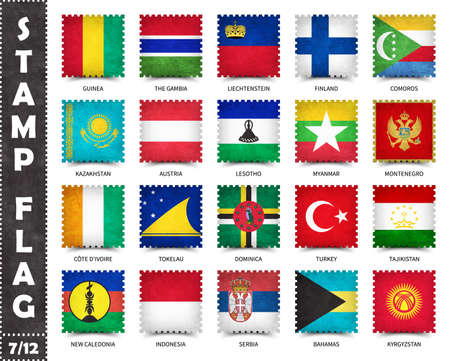 Stamp with official country flag pattern and old grunge texture and countries name . Square shape . Vector . Set 7 of 12 on this series ( All national flags of the world ) . 矢量图像