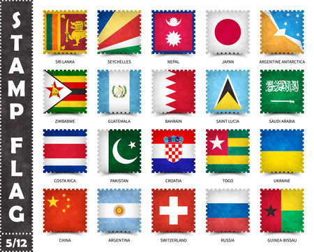Stamp with official country flag pattern and old grunge texture and countries name . Square shape . Vector . Set 5 of 12 on this series ( All national flags of the world ) . 矢量图像