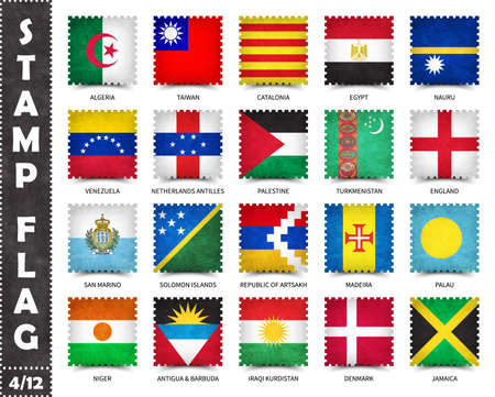 Stamp with official country flag pattern and old grunge texture and countries name . Square shape . Vector . Set 4 of 12 on this series ( All national flags of the world ) . 矢量图像