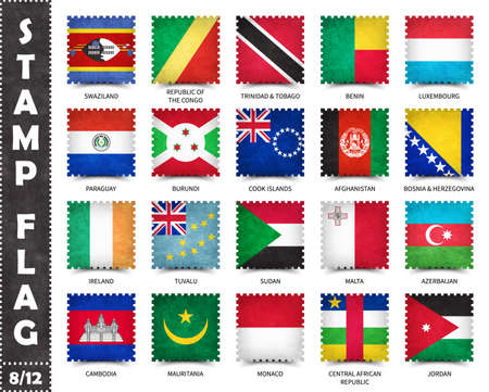 Stamp with official country flag pattern and old grunge texture and countries name . Square shape . Vector . Set 8 of 12 on this series ( All national flags of the world ) .