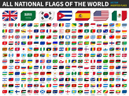 All national flags of the world . Inserted paper flag design . Element vector .
