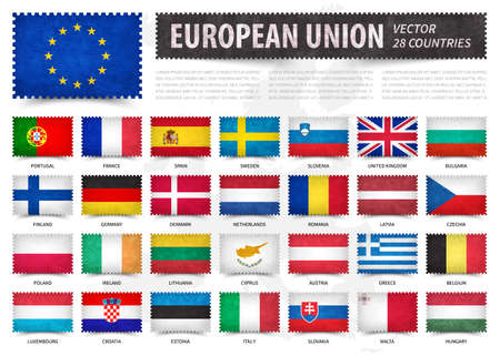 European union . EU . And membership country flag . Stamp shape with grunge paper texture . White isolated background with europe map . Element vector . Illustration