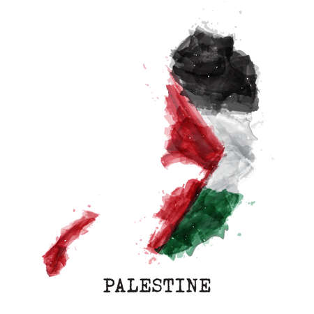 Palestine flag watercolor painting design . Country map shape . Vector .