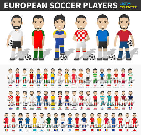 European soccer cup tournament 2020 and 2021 . Set of football player with jersey and national flag .  Cartoon character flat design . White isolated background . Vector . Illustration