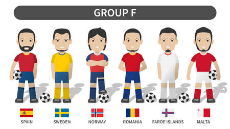 European soccer cup tournament qualifying draws 2020 and 2021 . Group F . Football player with jersey kit uniform and national flag . Cartoon character flat design . White theme background . Vector .