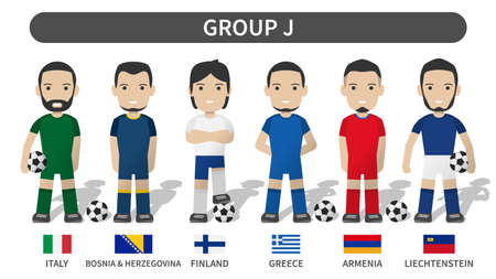 European soccer cup tournament qualifying draws 2020 and 2021 . Group J . Football player with jersey kit uniform and national flag . Cartoon character flat design . White theme background . Vector .