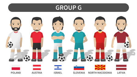 European soccer cup tournament qualifying draws 2020 and 2021 . Group G . Football player with jersey kit uniform and national flag . Cartoon character flat design . White theme background . Vector .