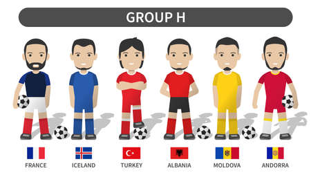 European soccer cup tournament qualifying draws 2020 and 2021 . Group H . Football player with jersey kit uniform and national flag . Cartoon character flat design . White theme background . Vector . Illustration