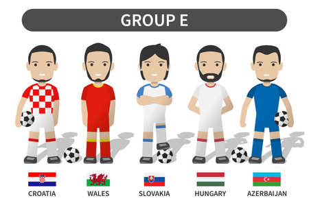 European soccer cup tournament qualifying draws 2020 and 2021 . Group E . Football player with jersey kit uniform and national flag . Cartoon character flat design . White theme background . Vector .