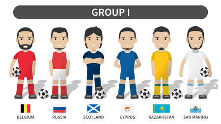 European soccer cup tournament qualifying draws 2020 and 2021 . Group I . Football player with jersey kit uniform and national flag . Cartoon character flat design . White theme background . Vector .