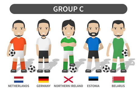 European soccer cup tournament qualifying draws 2020 and 2021 . Group C . Football player with jersey kit uniform and national flag . Cartoon character flat design . White theme background . Vector . 矢量图像