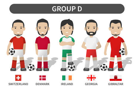 European soccer cup tournament qualifying draws 2020 and 2021 . Group D . Football player with jersey kit uniform and national flag . Cartoon character flat design . White theme background . Vector . Illustration