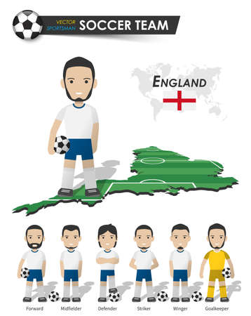 England national soccer cup team . Football player with sports jersey stand on perspective field country map and world map . Set of footballer positions . Cartoon character flat design . Vector . Illustration