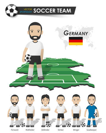 Germany national soccer cup team . Football player with sports jersey stand on perspective field country map and world map . Set of footballer positions . Cartoon character flat design . Vector . 矢量图像