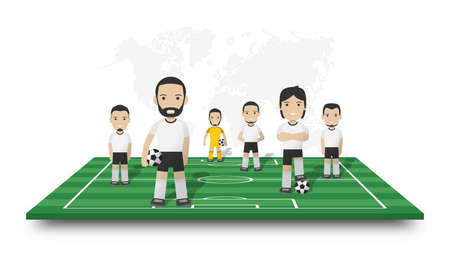 Soccer players team stand on perspective football field . Dotted world map on white isolated background . Sportsman cartoon character . 3D Vector design .
