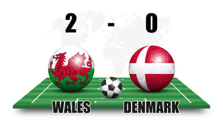 Wales vs Denmark . Soccer ball with national flag pattern on perspective football field . Dotted world map background . Football match result and scoreboard . Sport cup tournament . 3D vector design . Illustration