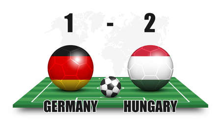 Germany vs Hungary . Soccer ball with national flag pattern on perspective football field . Dotted world map background . Football match result and scoreboard . Sport cup tournament . 3D vector design Illustration