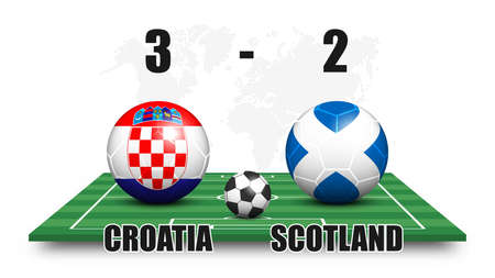 Croatia vs Scotland . Soccer ball and national flag pattern on perspective football field . Dotted world map background . Football match result and scoreboard . Sport cup tournament . 3D vector design Illustration