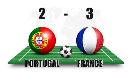 Portugal vs France . Soccer ball with national flag pattern on perspective football field . Dotted world map background . Football match result and scoreboard . Sport cup tournament . 3D vector design Illustration