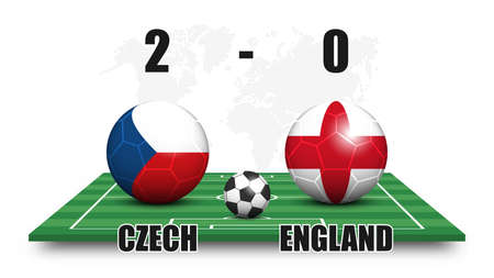 Czech vs England . Soccer ball with national flag pattern on perspective football field . Dotted world map background . Football match result and scoreboard . Sport cup tournament . 3D vector design . Illustration
