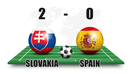 Slovakia vs Spain . Soccer ball with national flag pattern on perspective football field . Dotted world map background . Football match result and scoreboard . Sport cup tournament . 3D vector design