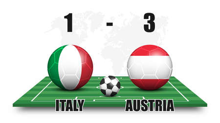 Italy vs Austria . Soccer ball with national flag pattern on perspective football field . Dotted world map background . Football match result and scoreboard . Sport cup tournament . 3D vector design . Illustration