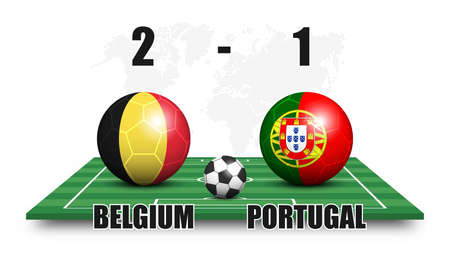 Belgium vs Portugal . Soccer ball with national flag pattern on perspective football field . Dots world map background . Football match result and scoreboard . Sport cup tournament . 3D vector design
