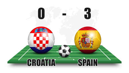 Croatia vs Spain . Soccer ball with national flag pattern on perspective football field . Dotted world map background . Football match result and scoreboard . Sport cup tournament . 3D vector design . Illustration