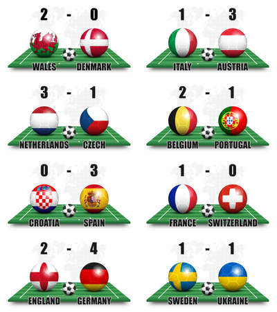 Round of 16 Team tournament european soccer cup championship . Ball with national country flag on perspective view football field and scoreboard . World map background . 3D design vector .