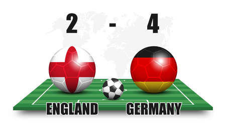 England vs Germany . Soccer ball with national flag pattern on perspective football field . Dotted world map background . Football match result and scoreboard . Sport cup tournament . 3D vector design Illustration