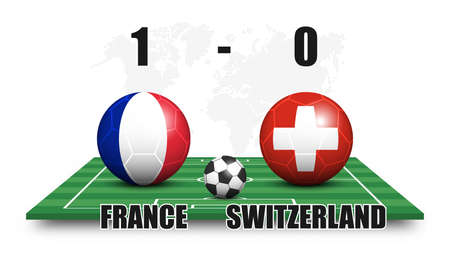 France vs Switzerland . Soccer ball and national flag pattern on perspective football field . Dots world map background . Football match result and scoreboard . Sport cup tournament . 3D vector design Illustration
