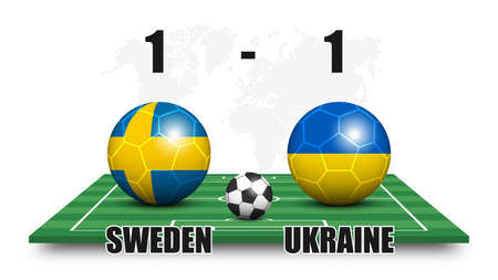 Sweden vs Ukraine . Soccer ball with national flag pattern on perspective football field . Dotted world map background . Football match result and scoreboard . Sport cup tournament . 3D vector design Illustration