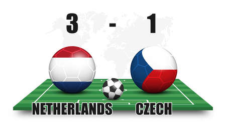 Netherlands vs Czech . Soccer ball with national flag pattern on perspective football field . Dots world map background . Football match result and scoreboard . Sport cup tournament . 3D vector design
