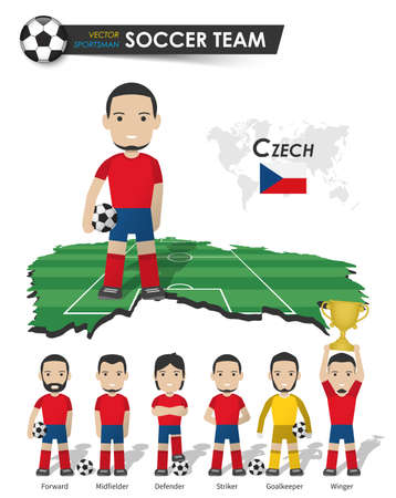 Czech republic national soccer cup team . Football player with sports jersey stand on perspective field country map and world map . Set of footballer positions . Cartoon character flat design . Vector