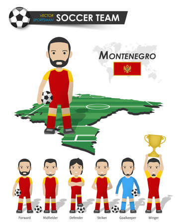 Montenegro national soccer cup team . Football player with sports jersey stand on perspective field country map and world map . Set of footballer positions . Cartoon character flat design . Vector .