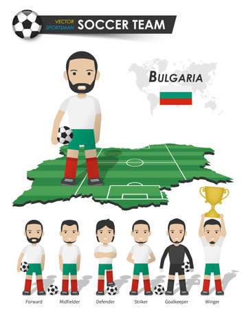 Bulgaria national soccer cup team . Football player with sports jersey stand on perspective field country map and world map . Set of footballer positions . Cartoon character flat design . Vector . 矢量图像