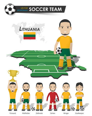 Lithuania national soccer cup team . Football player with sports jersey stand on perspective field country map and world map . Set of footballer positions . Cartoon character flat design . Vector . Illustration