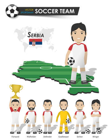 Serbia national soccer cup team . Football player with sports jersey stand on perspective field country map and world map . Set of footballer positions . Cartoon character flat design . Vector .
