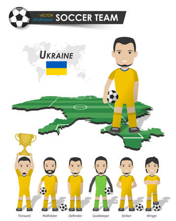 Ukraine national soccer cup team . Football player with sports jersey stand on perspective field country map and world map . Set of footballer positions . Cartoon character flat design . Vector .
