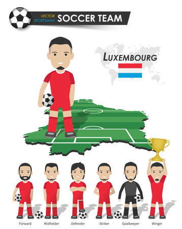 Luxembourg national soccer cup team . Football player with sports jersey stand on perspective field country map and world map . Set of footballer positions . Cartoon character flat design . Vector .