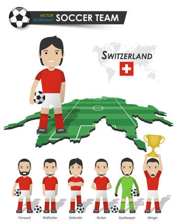 Switzerland national soccer cup team . Football player with sports jersey stand on perspective field country map and world map . Set of footballer positions . Cartoon character flat design . Vector .